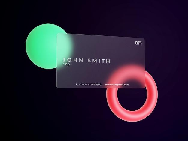 Biglietto da visita mockup con effetto glassmorphism