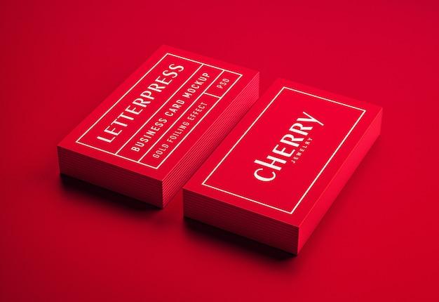 Mockup di biglietti da visita con stampa tipografica