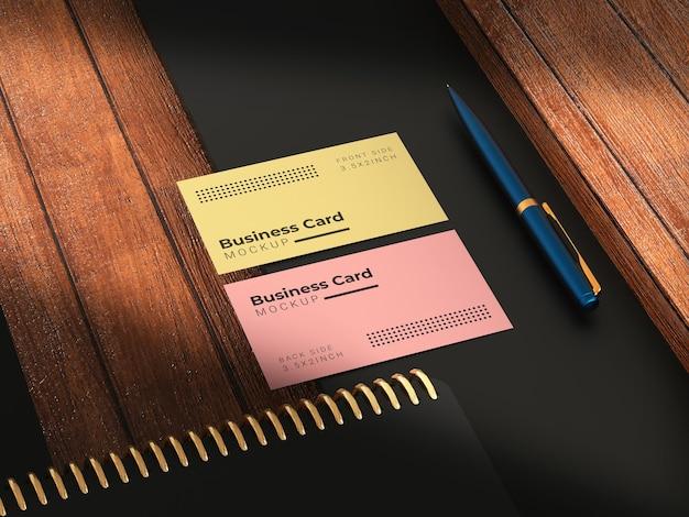 Mockup di biglietti da visita con struttura in legno