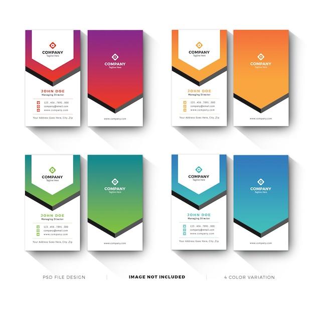 Modelli di biglietti da visita con variazione di colore