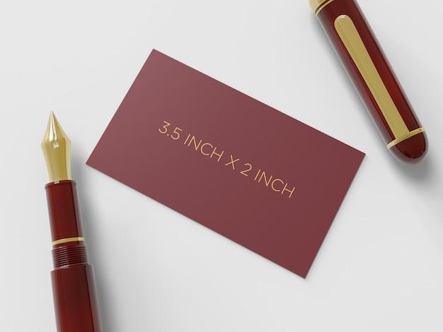 Biglietto da visita con una penna stilografica