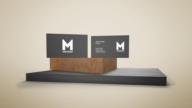 Biglietto da visita sul modello di podio in legno