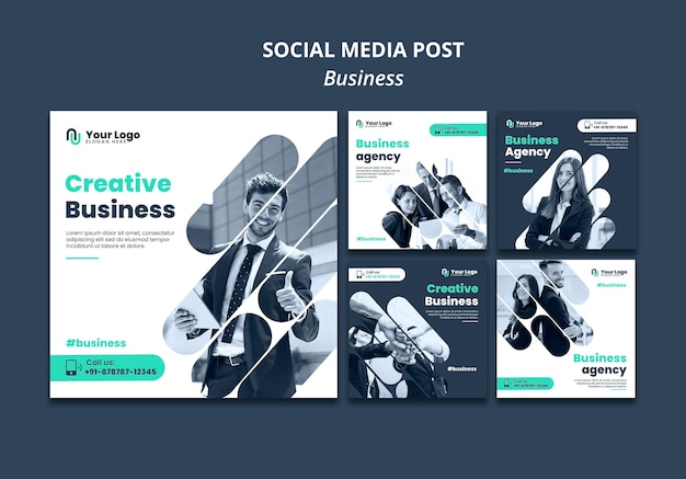 Modello di post sui social media di concetto di business