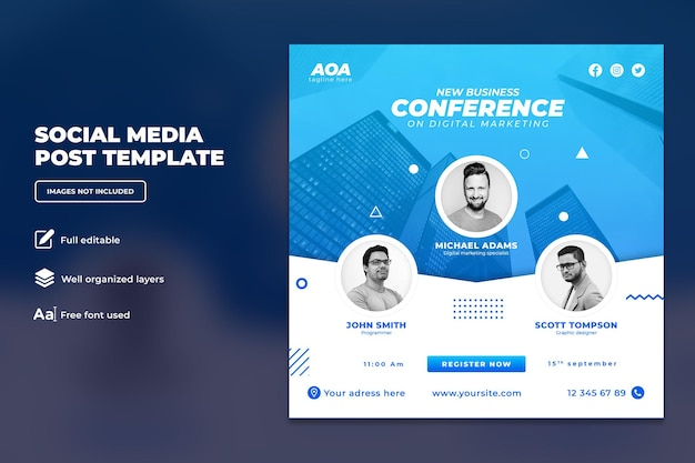 Conferenza d'affari sul modello di post instagram dell'agenzia creativa di marketing digitale