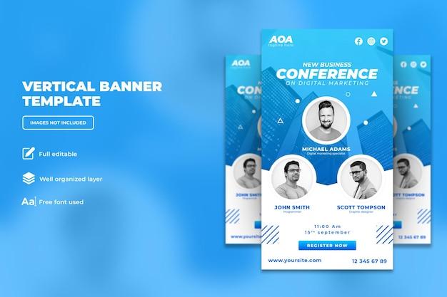 Conferenza d'affari sul banner verticale dell'agenzia creativa di marketing digitale