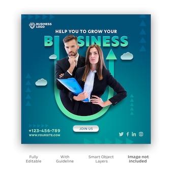 Modello di post di instagram per la promozione della crescita aziendale psd gratuito