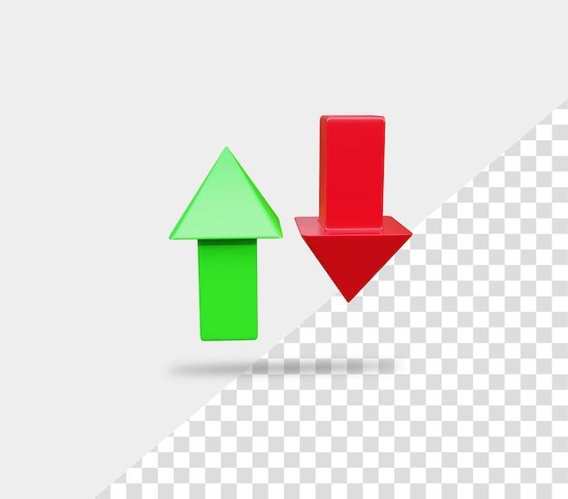 Freccia di rendering su giù per la crescita del business