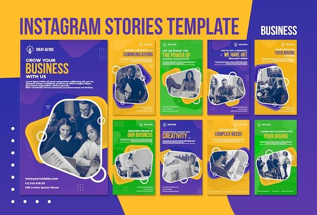 Modello di storie di instagram aziendali con foto