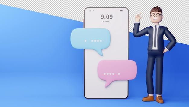 Uomo d'affari con telefono rendering 3d