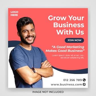 Modello dell'insegna della posta di media sociali di promozione di vendita di affari