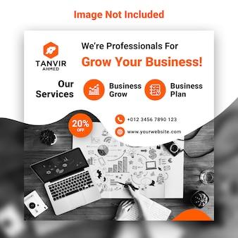 Modello psd di progettazione dell'insegna di web di media sociali di marketing commerciale di affari