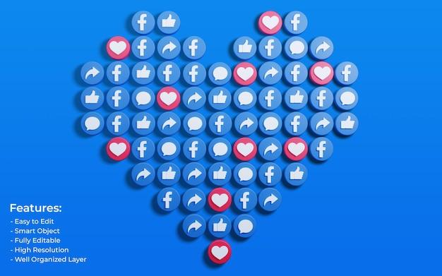Promozione della pagina aziendale per i post di facebook circondati da like 3d
