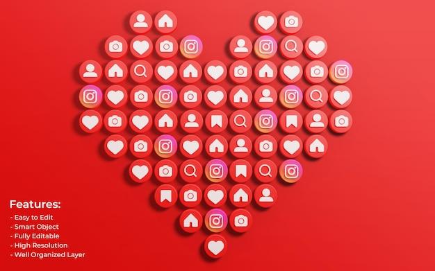 Promozione della pagina aziendale per post su instagram circondata da like 3d