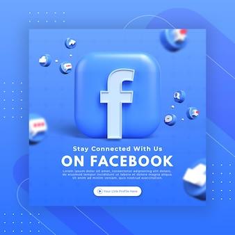 La promozione della pagina aziendale con 3d rende facebook per il modello di post di instagram