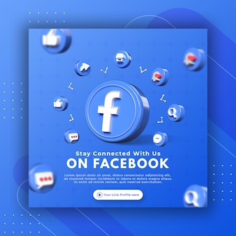 Promozione della pagina aziendale con rendering 3d facebook per il modello di post di instagram