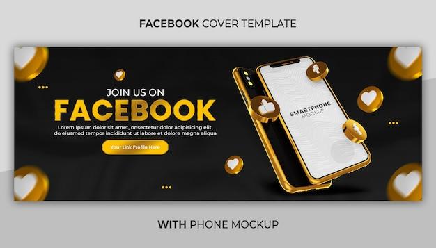 Promozione di pagine aziendali con mockup di telefono in oro rendering 3d per banner di social media
