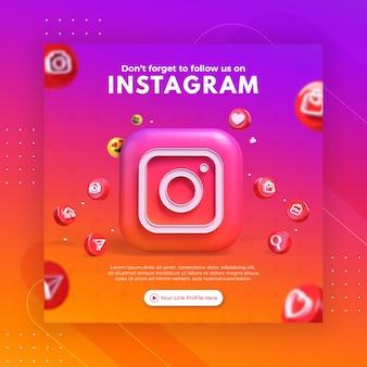 Promozione della pagina aziendale con 3d rendering instagram per modello di post instagram