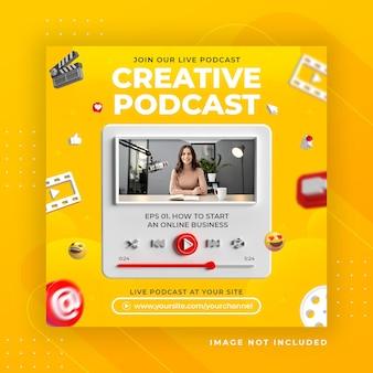 Promozione della pagina aziendale con rendering 3d instagram per modello di post instagram