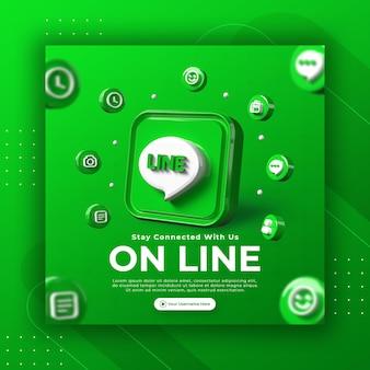 Promozione della pagina aziendale con linea di rendering 3d per modello di post instagram