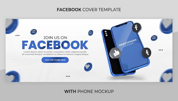 Promozione della pagina aziendale con mockup del telefono di rendering 3d per banner sui social media