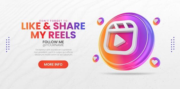 Promozione della pagina aziendale con l'icona di bobine di rendering 3d per instagram e modello di banner di social media