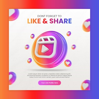Promozione della pagina aziendale con l'icona di bobine di rendering 3d per instagram e modello di post sui social media