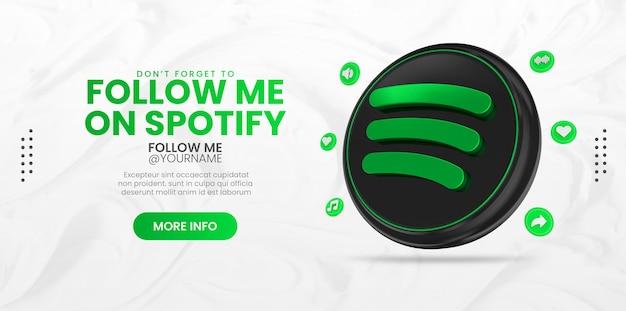 Promozione della pagina aziendale con rendering 3d icona spotify per instagram e modello di banner per social media