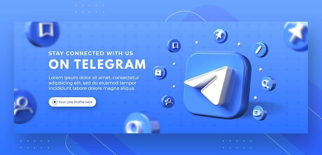 Promozione della pagina aziendale con telegramma di rendering 3d per il modello di copertina di facebook