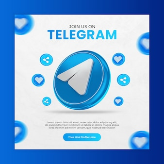 Promozione della pagina aziendale con l'icona del telegramma di rendering 3d per instagram e modello di post sui social media