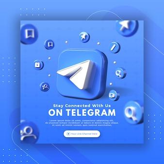 Promozione della pagina aziendale con telegramma di rendering 3d per modello di post instagram