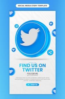 Promozione della pagina aziendale con icona twitter rendering 3d per instagram e modello di storia dei social media