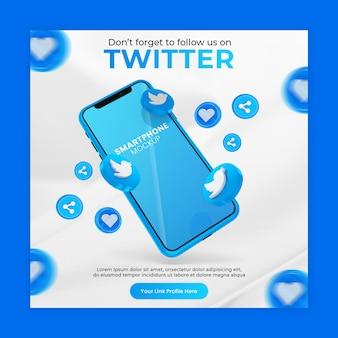 Promozione della pagina aziendale con mockup di smartphone icona twitter rendering 3d