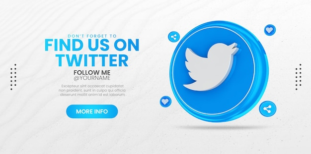 Promozione della pagina aziendale con rendering 3d icona di twitter