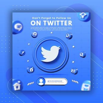 Promozione della pagina aziendale con rendering 3d twitter per il modello di post di instagram