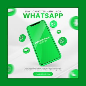 Promozione della pagina aziendale con rendering 3d icona smartphone mockup di whatsapp