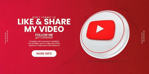 Promozione della pagina aziendale con rendering 3d dell'icona di youtube per il modello di banner dei social media