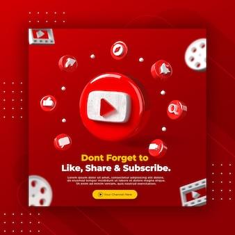 La promozione della pagina aziendale con 3d rende il logo di youtube per il modello di post instagram