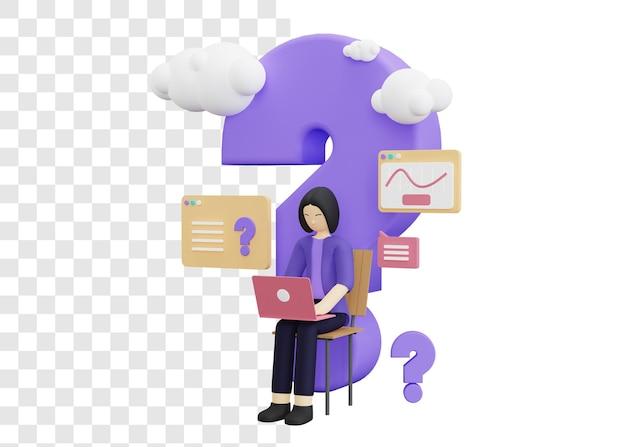 Gente di affari che fa domande concetto 3d illustrazione con una donna in possesso di un computer portatile
