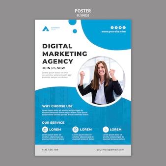 Modello di poster aziendale con foto