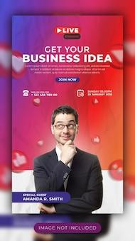 Webinar live e workshop per la promozione aziendale sui social media story template per facebook e instagram