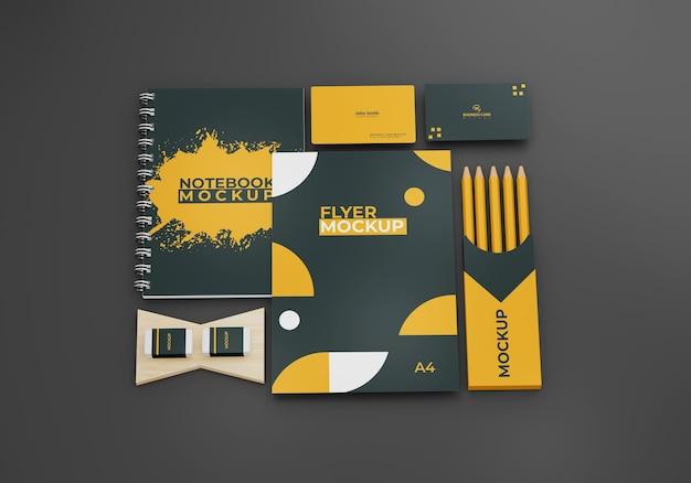 Cancelleria aziendale mock up design branding