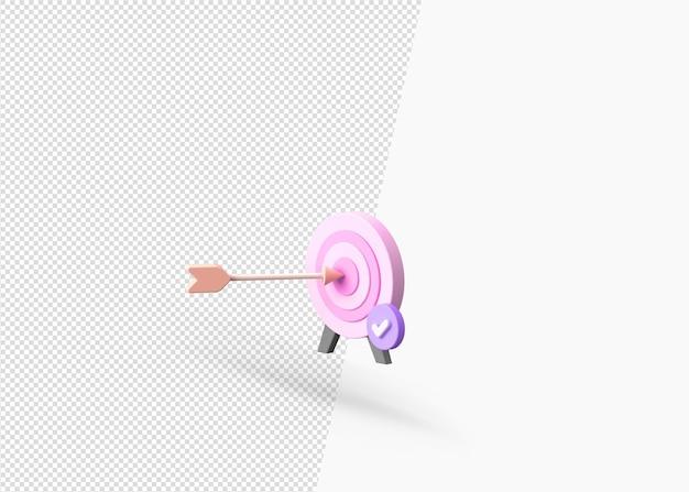 Concetto di raggiungimento dell'obiettivo aziendale con rendering 3d