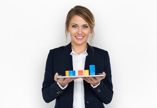 Concetto di sorriso del grafico della donna di affari
