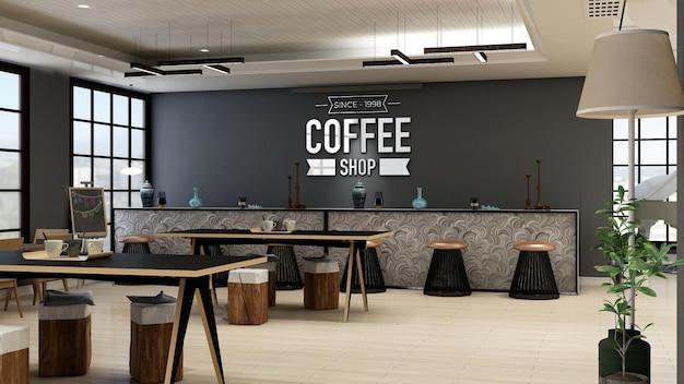 Mockup del logo della parete del caffè o della caffetteria nella moderna sala bar caffetteria