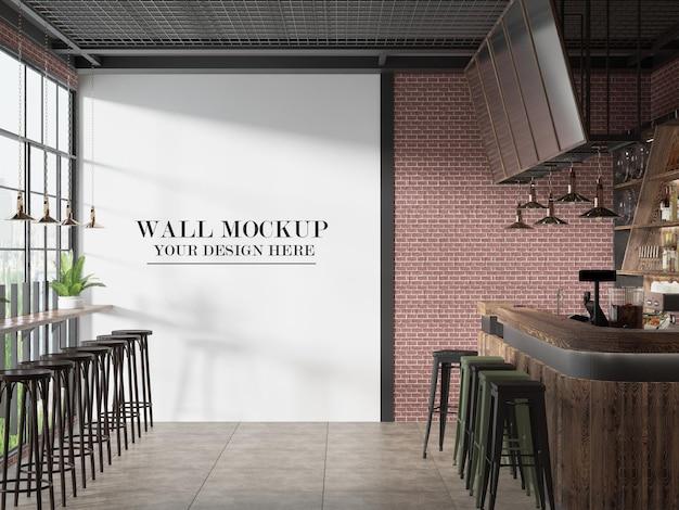 Mockup della parete dello snack bar del caffè