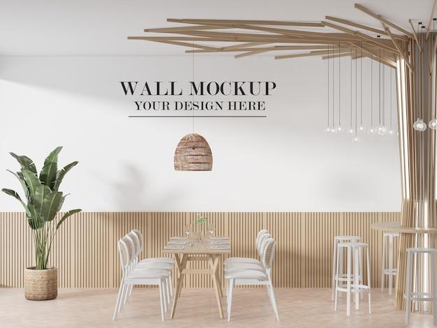 Mockup della parete del caffè nel rendering 3d