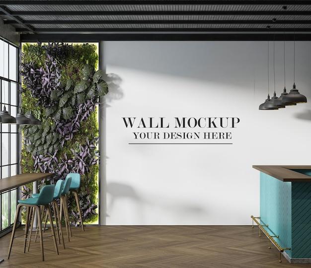 Mockup di parete del caffè con pianta verde