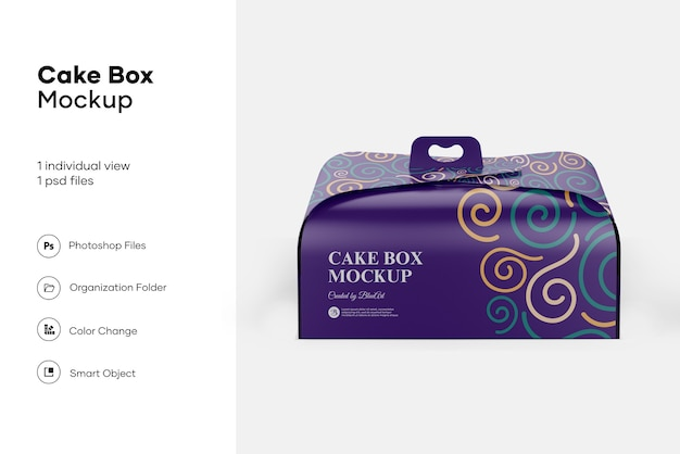 Cake box mockup design isolato