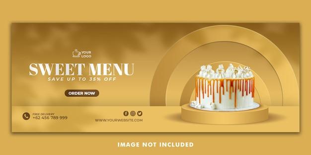 Modello di banner copertina di torta facebook per la promozione del ristorante
