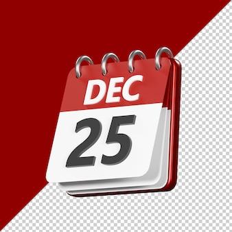 Calendario giorno di natale isolato 3d render